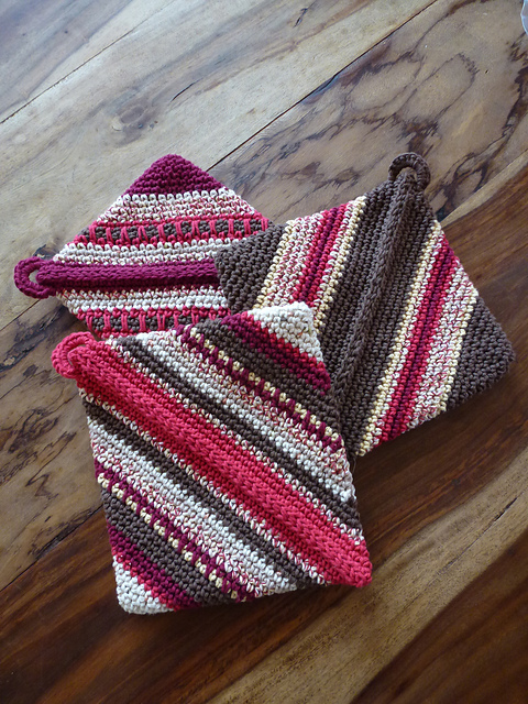 Ravelry Double Thick Diagonally Crocheted Potholder Pattern By