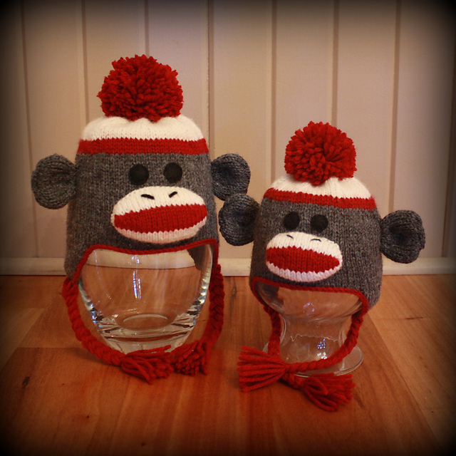 Ravelry Sock Monkey Ear Flap Hats For The Whole Family Pattern By