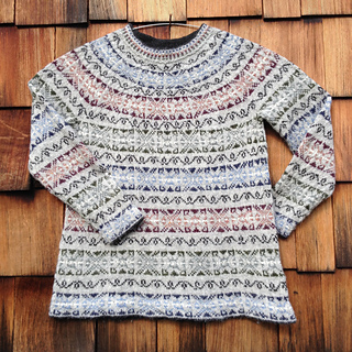 Sunset Cross Fair Isle Sweater pattern by Claudia Krisniski