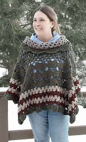 Ravelry Vintage Sunrise Cowl Neck Poncho Pattern By Shelley Moore
