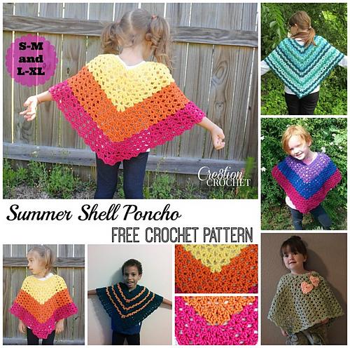 Ravelry Childrens Shell Poncho Pattern By Lorene Haythorn Eppolite