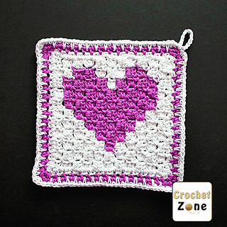 Ravelry C2c Heart Washcloth Pattern By Ma Santos