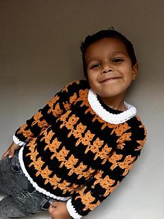 Cat stitch sweater for children pattern by CroJennifer