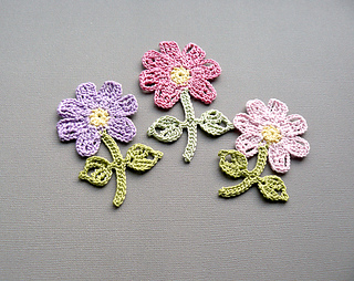 Free Crochet Flower Patterns With Stems : Ravelry: Flower with Stem pattern by Caitlin Sainio