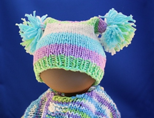 Ravelry Square Knitted Baby Hat With Pom Poms Pattern By Janet