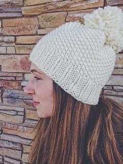 Ravelry: Modern Seed-Stitch Pom-Pom Hat pattern by Darla Krueger