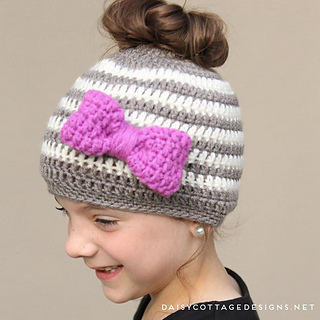500ebf18a4698 Ravelry  Kids Messy Bun Hat pattern by Lauren Brown