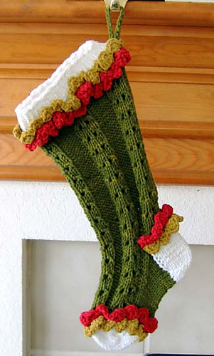 Free Knitting Pattern For Large Christmas Stocking : Ravelry: Ruffled Lace Christmas Stocking pattern by Kathy North