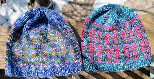 Tweedy_plaid_beanies_2_outside_medium