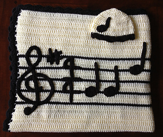 Ravelry Lullaby Baby Blanket And Hat Set With Music Note