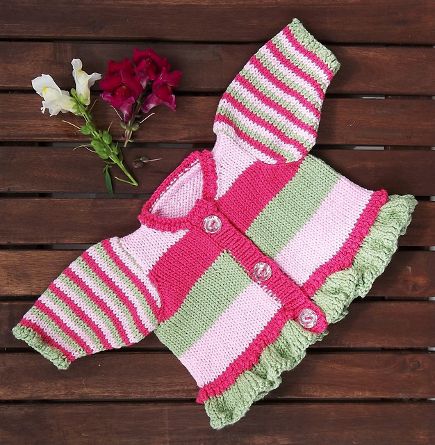 Ravelry Baby Girl Stripes And Frills Pattern By Audrey Wilson