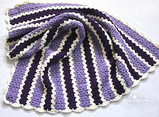 Ravelry Cluster V Stitch Striped Blanket W Shell Border Pattern By