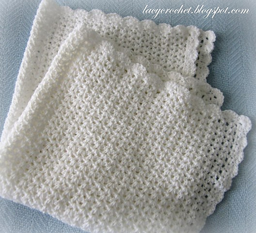 Ravelry V Stitch Baby Afghan With Scalloped Trim Pattern By Olga