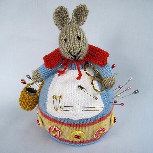 Ravelry Rowena Rabbit Knitted Pincushion Pattern By Wendy Phillips