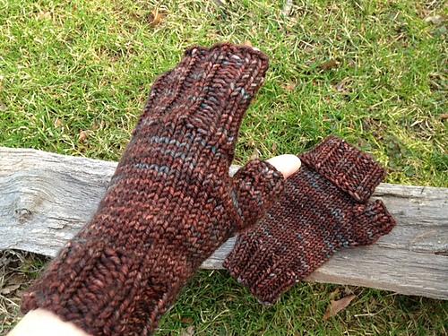 Long Flap Fingerless Mitts