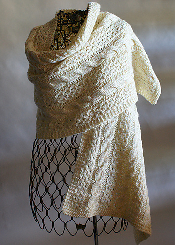 Ravelry Coin Lace And Cable Wrap Pattern By Shui Kuen Kozinski