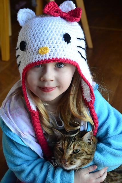 Ravelry Hello Kitty Hat pattern by Elizabeth Pardue
