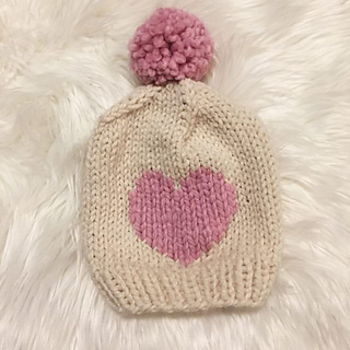 Ravelry  Valentine s Day Chunky Knit Heart Hat pattern by Emmi Scott 8821a2b77d8