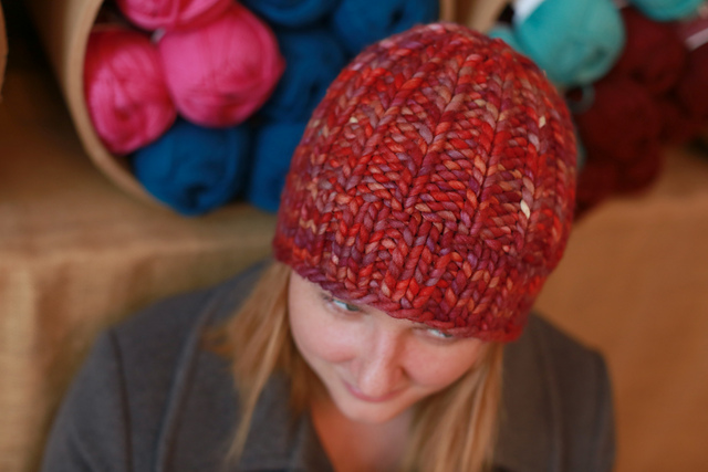 Chunky knit hat in red yarn