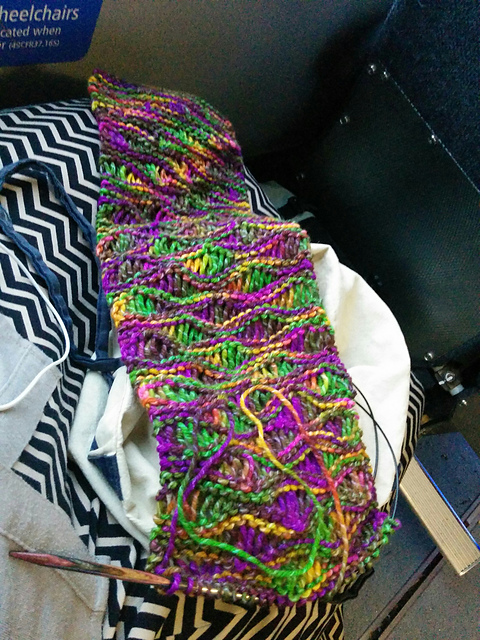 Unfinished multicolored scarf