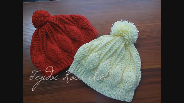 Ravelry: Gorro con hojas en relieve crochet pattern by Rosa Isela