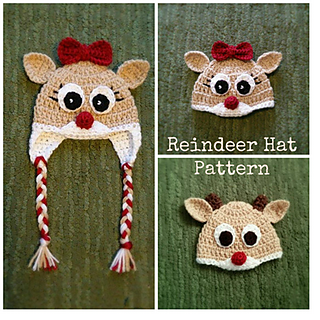 a477a83af Crochet Reindeer Hat - Rudolph Clarice pattern by Angela Fuller