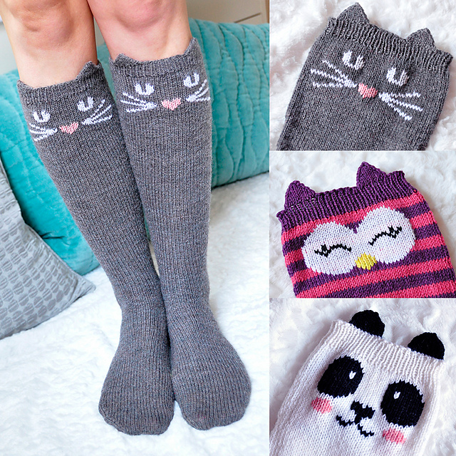Ravelry Check Meowt Cat Owl And Panda Knee High Socks Pattern By