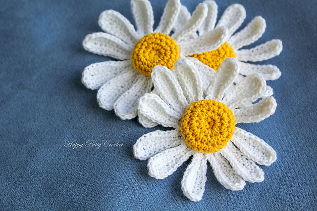 Ravelry Daisy Flower Applique Pattern By Happy Patty Crochet