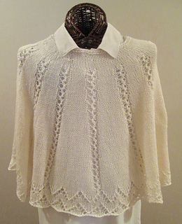 1fae303cb7ad Ravelry  Elegant Ivory Knitted Poncho pattern by Karen Walker