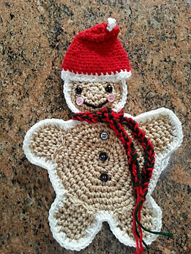 Ravelry Crochet Gingerbread Man Hotpadpotholder Pattern By Helen Brady