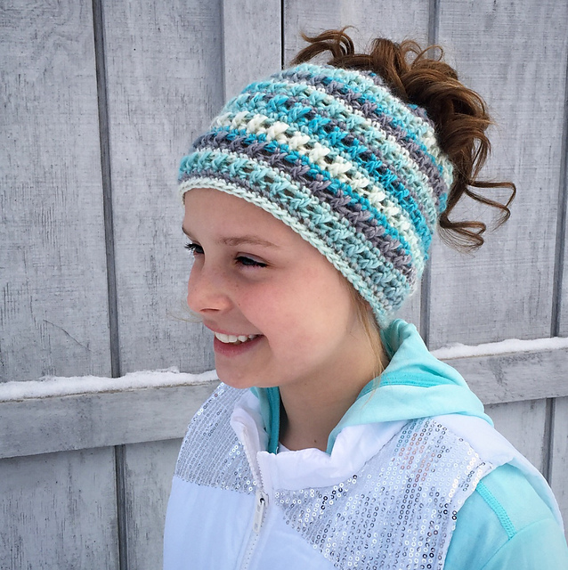 Ravelry Criss Cross Ponytail Or Messy Bun Hat Pattern By Crochet By