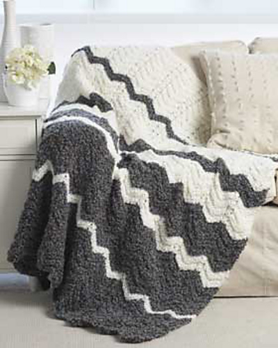 Ravelry Knit Ripple Blanket Pattern By Bernat Design Studio