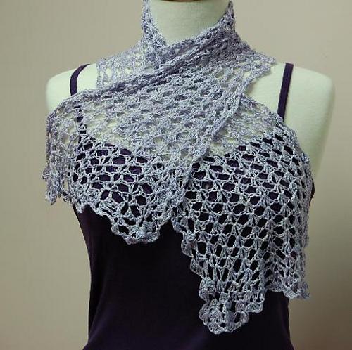 Ravelry Ivy Brambles Crochet Split Shell Silk Scarf Pattern By Ivy