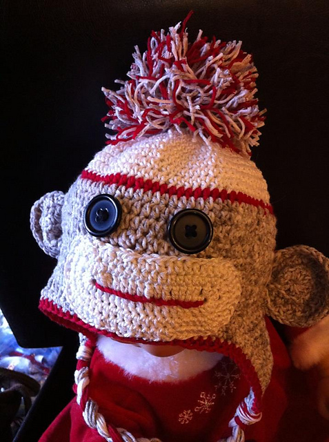Ravelry Crochet Sock Monkey Hat 6 Months To Toddler Pattern By Rene