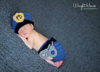 18e1dade2 Newborn Police Hat and Diaper Cover Set Crochet Pattern pattern by Aprile  Mazey