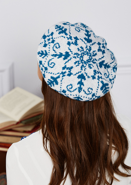Delft beret image, modelled (back view)