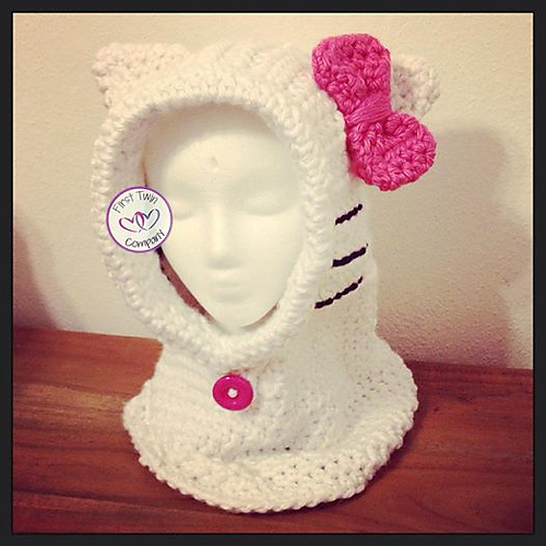 Ravelry Hello Kitty Hooded Cowl Pattern By First Twin Company
