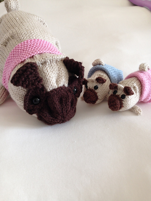 Ravelry: Poppy Pug and Puppies pattern by Julie Richards
