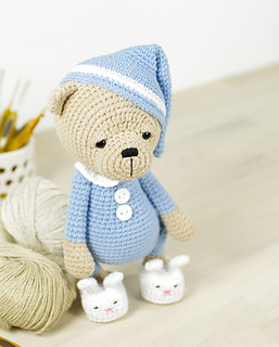 ravelry sleepy teddy in pajamas and bunny slippers pattern by
