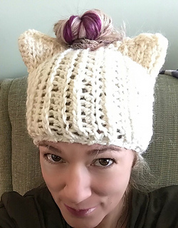 Ravelry  Messy Bun Cat Hat pattern by Rebecca Renea ba5a7895c30