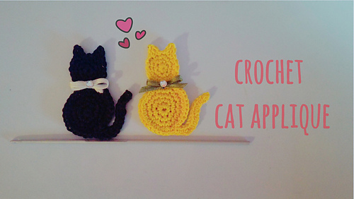 Ravelry cat applique pattern by maryj handmade dt1010fo