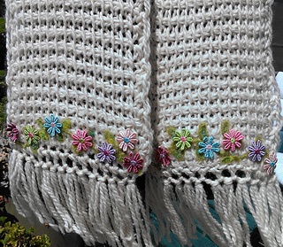 Quick Easy Tunisian Crochet Flower Edged Scarf With Ravelry