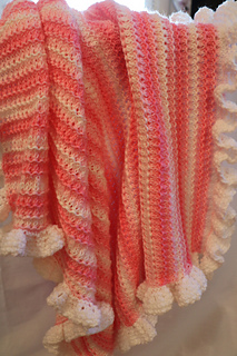 Ravelry Pink Baby Blanket With Ruffle Pattern By Elena