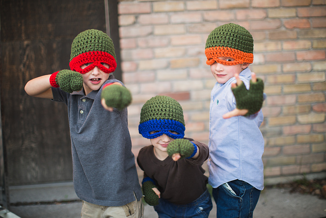 Ravelry Teenage Mutant Ninja Turtle Gloves Adult Size Pattern By