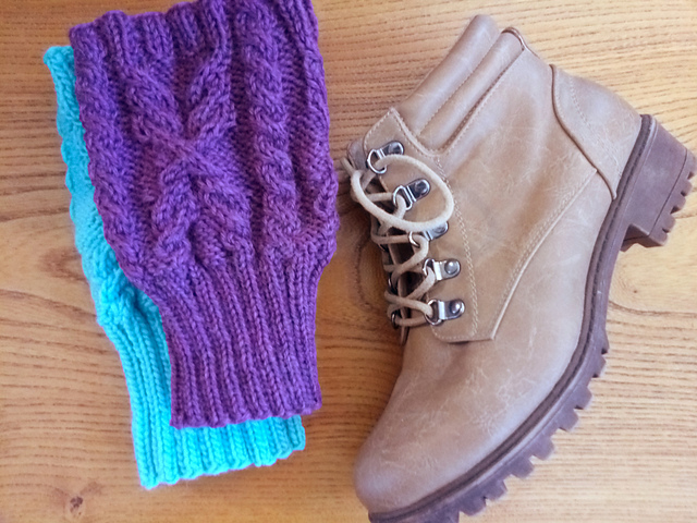 Wheatsheaf Boot Cuffs in Knit Picks WOTA Amethyst Heather, Turquoise Brown Sheep Lamb's Pride Worsted