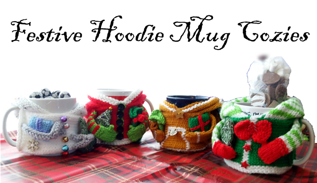 Festive Hoodie Mug Cozies Pattern by Loraine Birchall for Woolly Madly Deeply