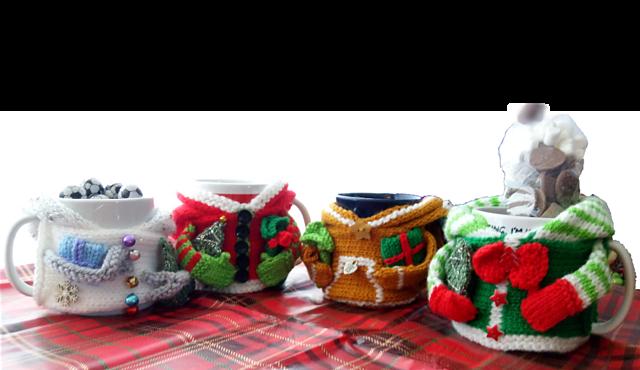 Festive Hoodie Mug Cozies Pattern by Loraine Birchall