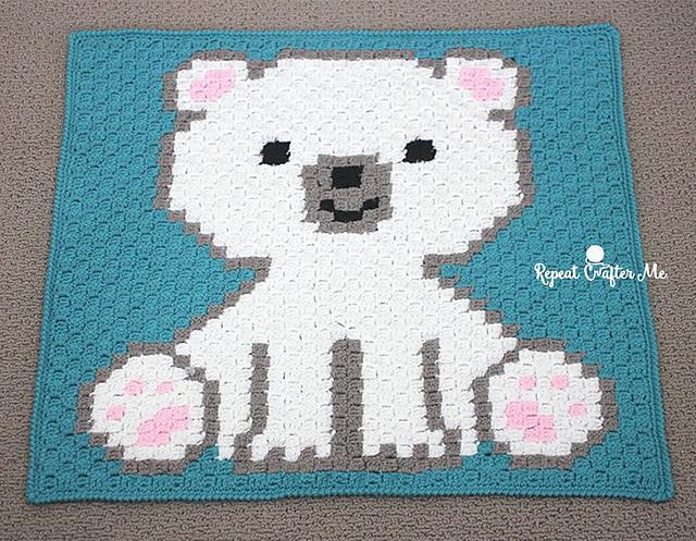Ravelry: Polar Bear Cub Crochet C2C Blanket pattern by Sarah Zimmerman