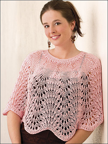 Lacy Waves Poncho - free knitting pattern gift idea for Moms