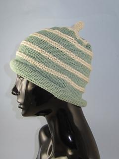 9949abc0e50 Ravelry  Stripe Roll Brim Topknot Beanie Hat pattern by Christine Grant